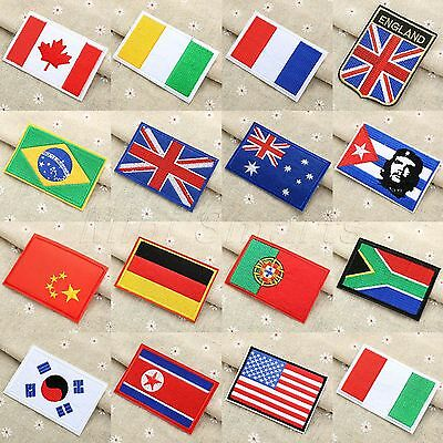 Flag Embroidered Patch Exquisite Badge Ironing Sewing Craft Applique 16 Sizes