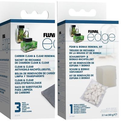 Fluval Edge Replacement Filter Media: Biomax, Foam and 3x Carbon BUNDLE