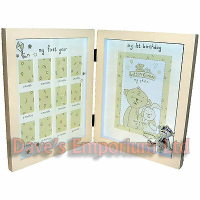 Babies My First Year Photo Frame - Button Corner - MDF Glass Baby Picture Album