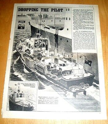 """Eagle Cutaway Drawing  """"puffin"""" Pilot Boat On  The River Mersey  24/9/1966"""