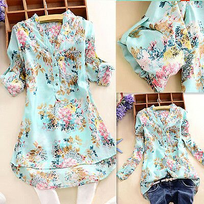 Womens Floral V Neck Casual Long Short Sleeve Top T Shirt Blouse UK SIZE 6-12