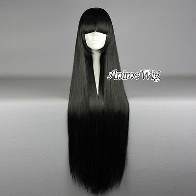 Lolita Black Long 100CM Straight Fashion Cosplay Wig with Bangs + Wig Cap