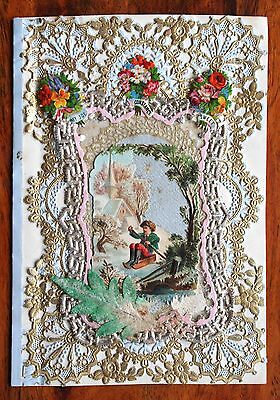 Victorian Valentine Lace Paper Card Mansell Multi Layered Gilt Scraps Sledge