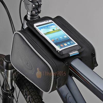 Cycling Bike Bicycle Frame Top Tube Pannier Pouch Saddle Double Bag Phone Holder