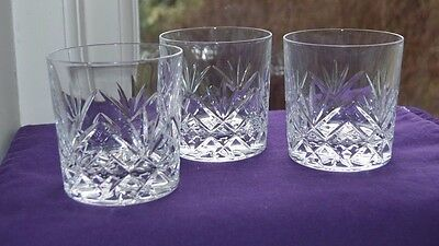 """Set of 3 -  Royal Doulton Juliette Crystal Tumblers 3.5"""" tall, signed"""