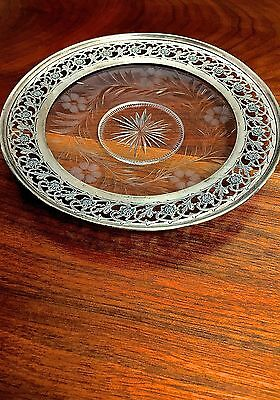 Frank M Whiting 20thC Pierced Sterling Silver & Etched Glass Dish No Monogram
