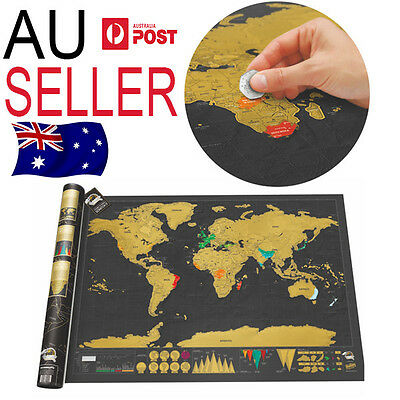 Large Scratch Map World Travel Poster Black Atlas Gift NEW