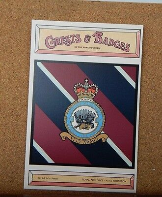 Royal Air force No 65 Squadron Crests & Badges of  the Armed services Postcard