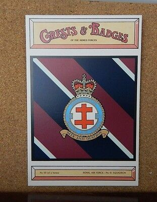 Royal Air force No 41 Squadron Crests & Badges of  the Armed services Postcard
