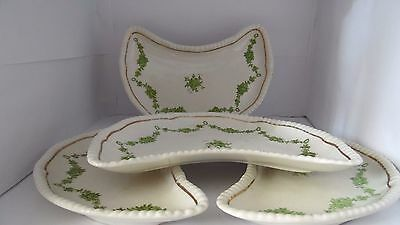 Bisto Crescent Shaped Dishes x 4 with green roses