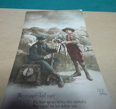 WW1 Patriotic postcard French Soldier   ,With a message from the front. b2.