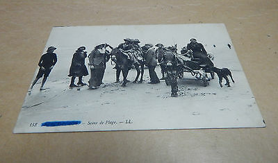 WW1 Postcard beachscene location crossed out sent by soldier from front b2.