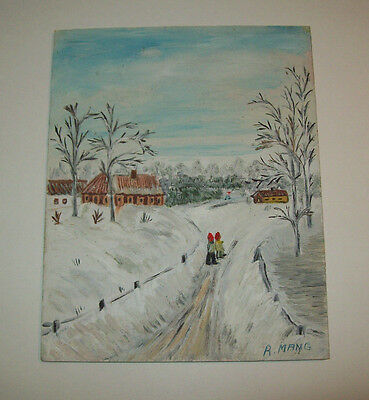 "FOLK ART Original Oil Painting, Signed ""R. MANIG"", Vintage, Whimsical Winter"