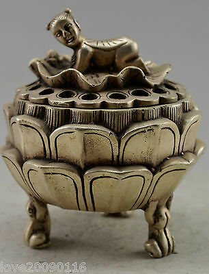 Collectible Decorate Old Handwork Silver Plate Copper Child Lotus Incense Burner
