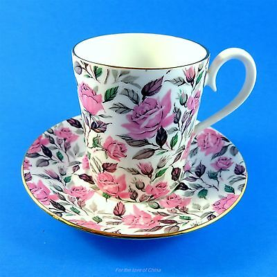 Royal Albert Pink Roses Chintz Pink Polka Mug Style Tea Cup and Saucer Set
