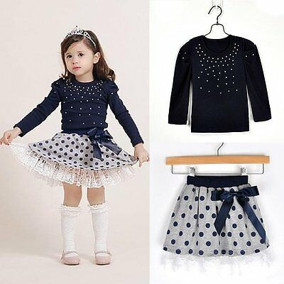 2PCS Toddler Kids Baby Girls Clothes T-shirt Tops+Tutu Skirt Dress Outfits Sets