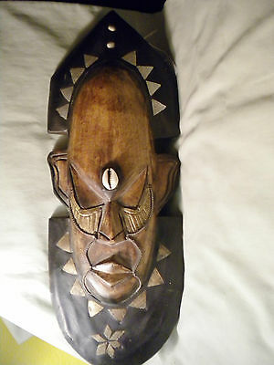 """18-1/2"""" Long Ghana Hand-Carved Wall Mask, Tin, Shell, Brass Inserts"""