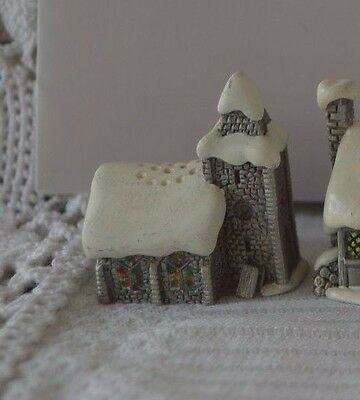 Sterling Pewter Thimble Snow English Village in Winter - Church