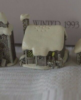 Sterling Pewter Thimble Snow English Village in Winter - The Cottage