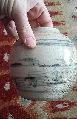 Antique Chinese Pottery Provincial Blue And White Ginger Jar