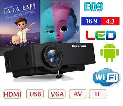 LCD Multimedia HD Home Theater Projector HDMI TV PC 1200 lm VGA WIFI Android 4K