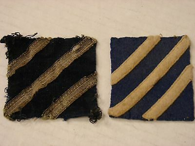 Original WW1 US Army 3rd DIvision Silver Wire AND Wool Felt Shoulder Patches-TWO