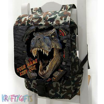 Personalised Jurassic Park T Rex  Boys Large Camo Backpack School Sports Bag