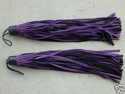 Set *2* FLORENTINE KNOB Leather Flogger Whip PURPLE 72 TAILS -HORSE TRAINER TOOL