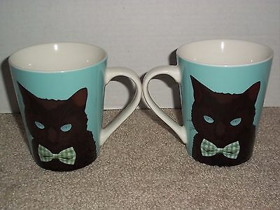Black Cat Lover Christopher Vine Bowtie Kitten Porcelain (2) Set Coffee Tea Mug