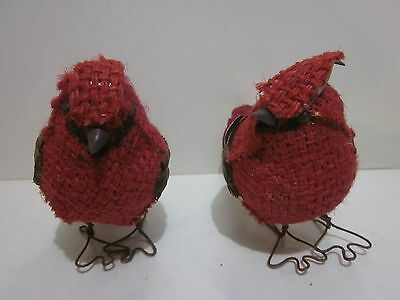 Pair of Winter Red Burlap Cardinals, Wire Feet Black Beaks, Boots Blossom Bucket