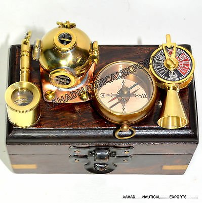 Antique Vintage Style Brass Compass With Rosewood Box Combo Gifts
