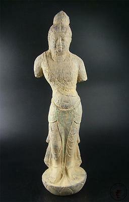 Very Large Antique Old Chinese Painted Stone Carving Statue Standing Kwanyin