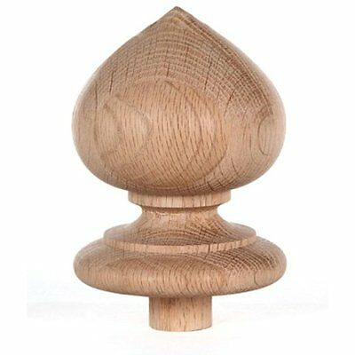 Staircase Spade Finial Newel Post Cap, Red Oak Wood (4 H X 3 5/16 W) FN-0100