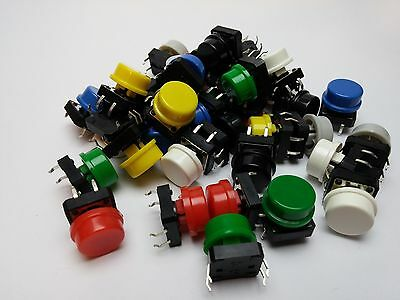 5-50 Pcs 12mm Momentary Tactile Push Button PCB Switch With Round Caps (7 color)
