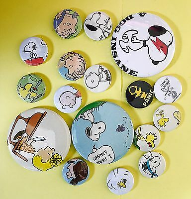Vintage Peanuts Snoopy Woodstock Charlie Brown Badge Button Pin Lot