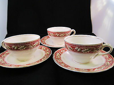 Three Vintage Grindley Tea Cups and Saucers Oakland Made in England VGC 1950s
