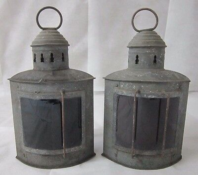 Lot of 2 Antique Galvanized Oil-Burning Port & Starboard Ship's Running Lanterns