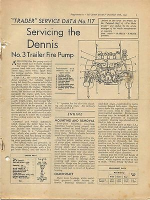 Dennis No. 3 Trailer Fire Pump Motor Trader Service Data No. 117 1942