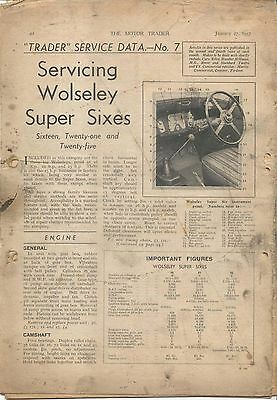 Wolseley Super Sixes 6s 16, 21 & 25 HP Motor Trader Service Data No. 7 1937