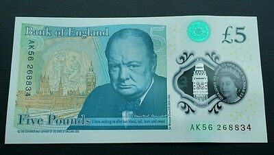 £5 note FIVE POUND NOTE. 'AK56' SERIAL No. Plastic Polymer. Uncirculated