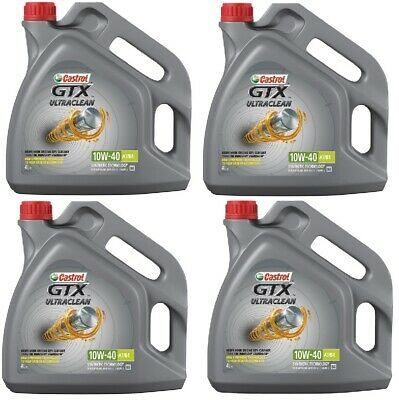 Castrol GTX Ultraclean 16L Car Engine Oil 4x 4 Litres 10W40 Part Semi Synthetic