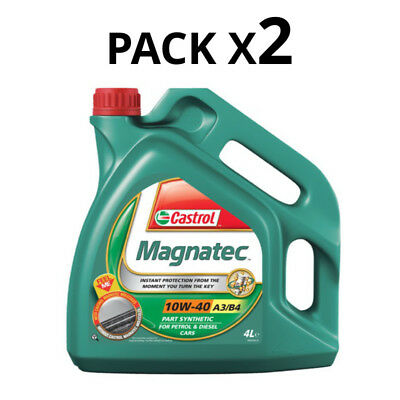 Castrol Magnatec 8L Car Engine Oil 2x 4 Litres SAE 10W40 A3 B4 Semi Synthetic