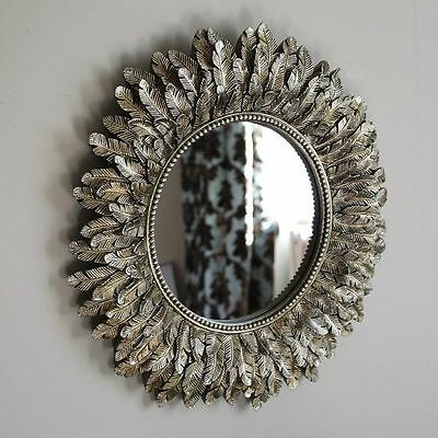 Gold Leaf Wall Art Deco Mirror Accessory Vintage Chic Contemporary Lounge Decor