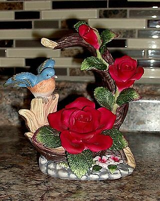 """Bird figurine BLUE BIRD And Red Roses Porcelain  6.50"""" tall x 6.50 Wide"""