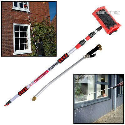 Voche® 3 Metre Telescopic Aluminium Water Fed Wash Brush + Pressure Washer Lance