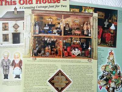 6p History Article +  Pics -  Antique 1876 Dolly Varden Cottage Dollhouse/Dolls
