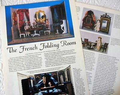6p History Article + Color Pics   Antique French Folding Room Dollhouse & Dolls