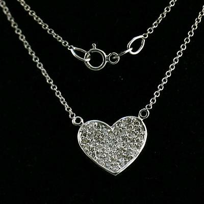 Heart round cut 0.50ct diamond pendant necklace white gold 14k