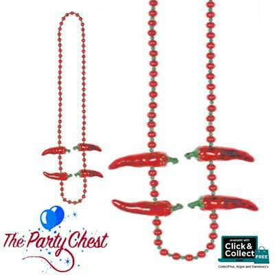 RED CHILLI PEPPER 106CM BEAD NECKLACE Mexican Fiesta Party Fun Accessory 99500