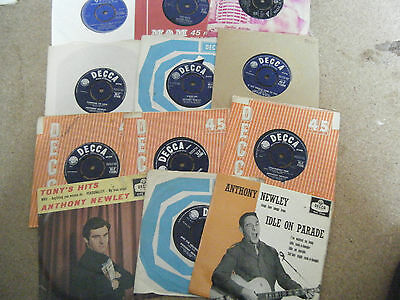 """12  Original  Anthony Newley   7"""" Singles   Decca  Some  With Picture Sleeves"""